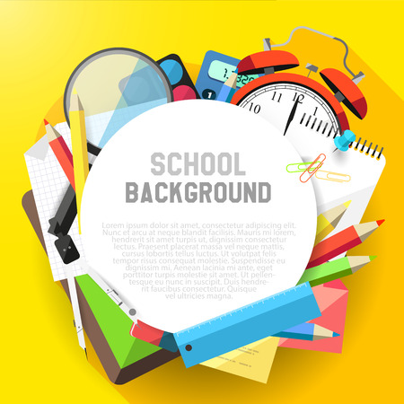 School flat design background with school supplies and copyspace