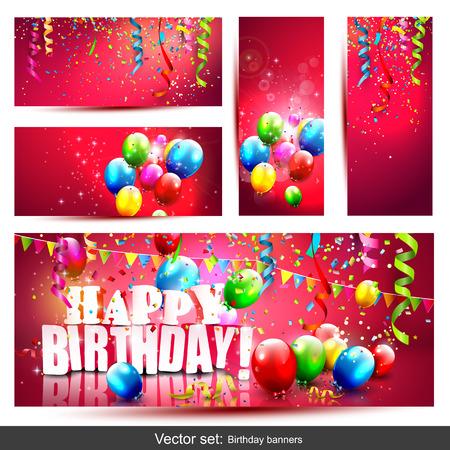 celebra: Vector conjunto de cinco banderas coloridas del cumpleaños con confeti y globos