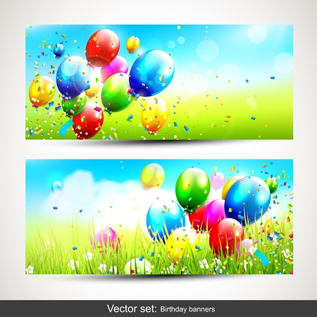 Vector set of two horizontal birthday banners   Vector