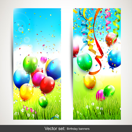 Vector set of two vertical birthday banners   Vector