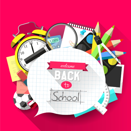Back to school - Vector flat design illustration   Vector