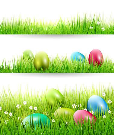 Set von drei Ostern Grenzen mit bunten Eiern im Gras Illustration