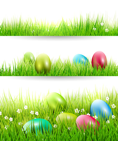 Set of three Easter borders with colorful eggs in grass