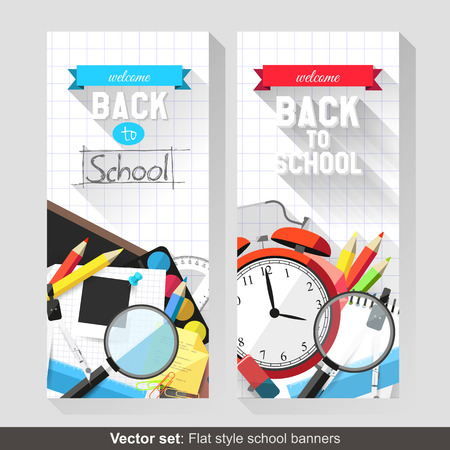 Back to school - Vector set of flat school banners   Vector
