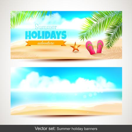 夏の休日の水平方向のバナーのベクトルを設定  イラスト・ベクター素材