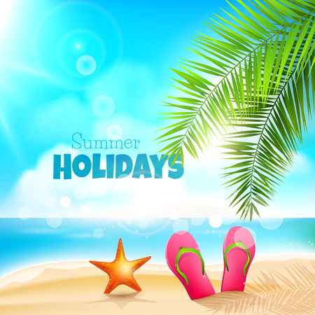 flops: Summer holidays background with flip flops, and sea star on a beach Illustration