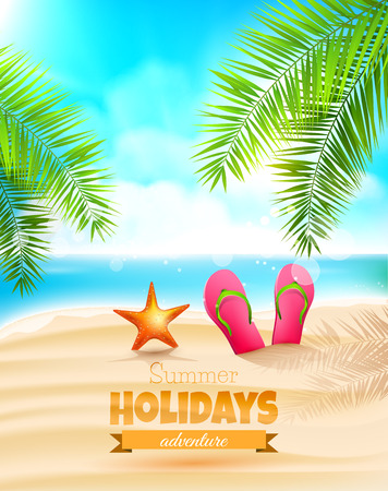 Flip-flops and seastar on the beach - Summer holidays background