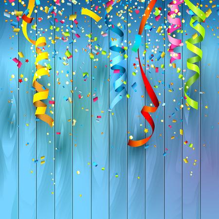 祝賀会: 木製の背景にカラフルな紙吹雪