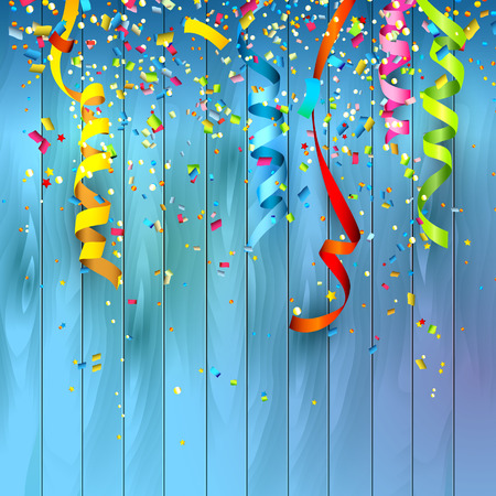 party streamers: Colorful confetti on wooden background Illustration