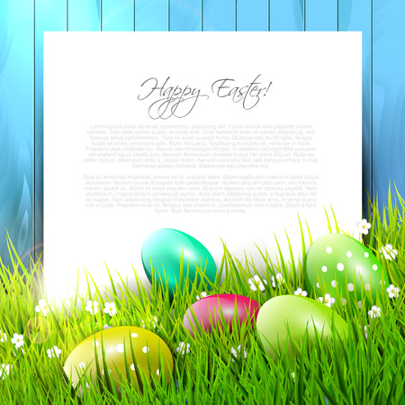 easter background: Easter background with colorful eggs in grass and empty paper Illustration