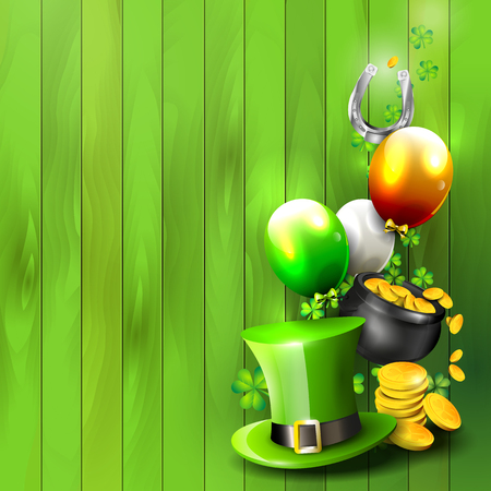St. Patricks Day green background with copy-space Vector
