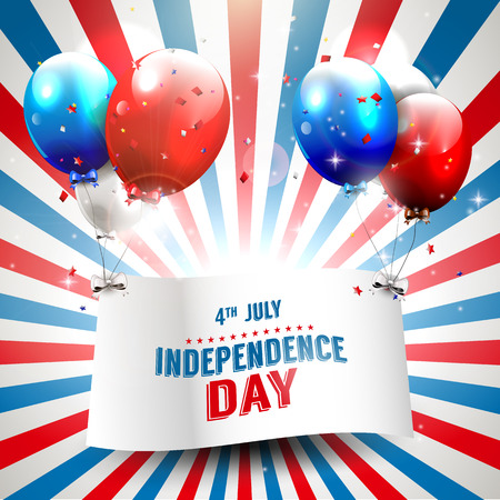 Independence day background with flying balloons Vector