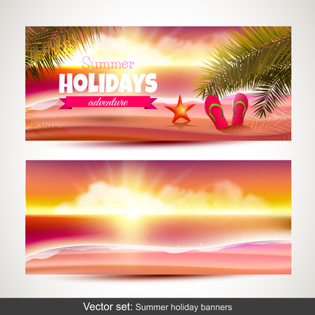 Vector set of summer holiday horizontal banners   Vector