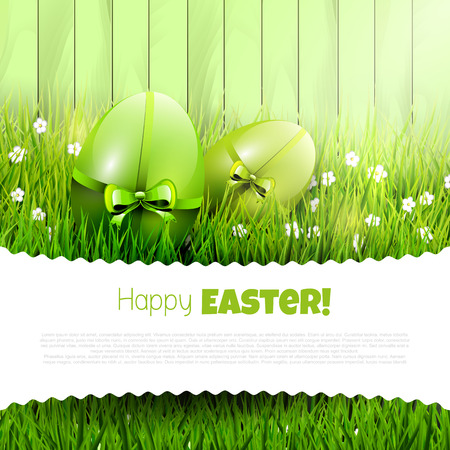 Easter background with green eggs in grass and copyspace
