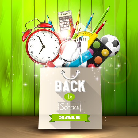 School supplies in a shopping bag - back to school sale concept Vector
