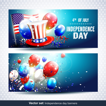 Vector set of two Independence day banners