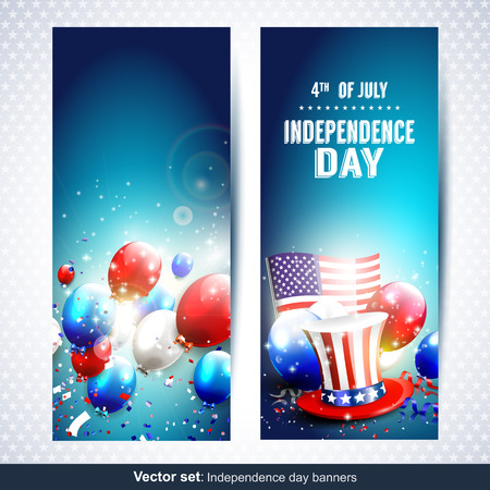 memorial day: Vector set of two Independence day banners