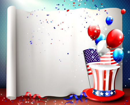 independence day america: Independence day - vector background with empty paper