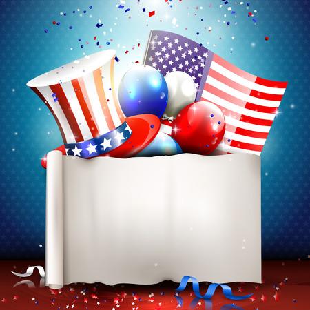 Independence day - vector achtergrond met lege papier