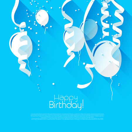 Modern birthday background with confetti and flying balloons - modern flat design style Illustration
