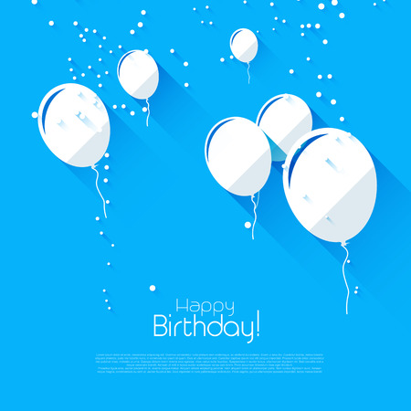 welcoming party: Modern birthday background with flying balloons - modern flat design style