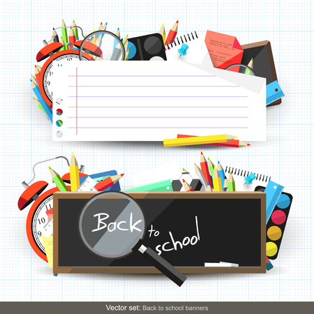 Vector set of school banners with place for text - modern flat design style Vector