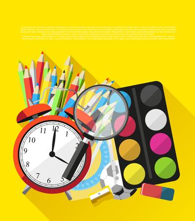 School supplies on orange background - vector flat design illustration Vector