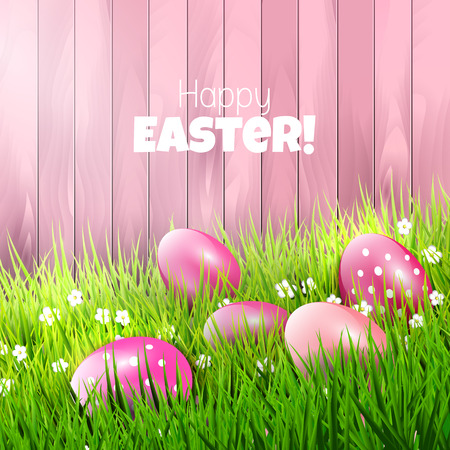 Sweet Easter background with pink eggs in grass Vector