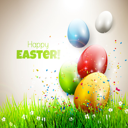 Modern Easter greeting card with colorful eggs flying out of grass Vector