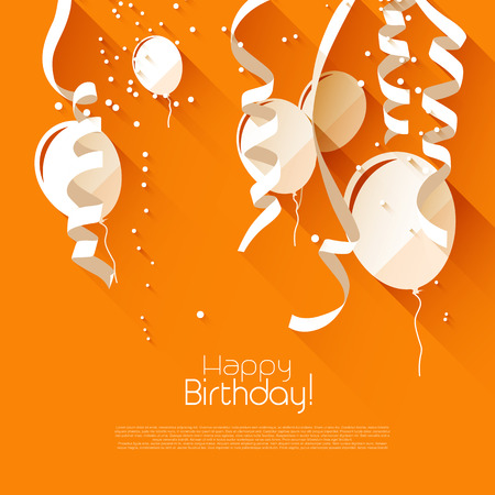 Modern birthday background with confetti and flying balloons - modern flat design style Ilustração