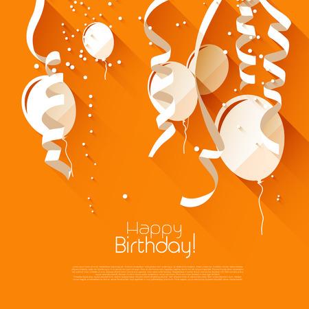 Moderne verjaardag achtergrond met confetti en vliegende ballonnen - moderne platte design stijl Stock Illustratie