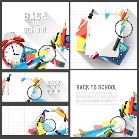 Vector set of four school backgrounds with place for text - modern flat design style Vector