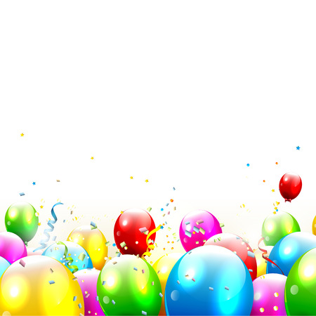 red balloons: Colorful birthday balloons and confetti