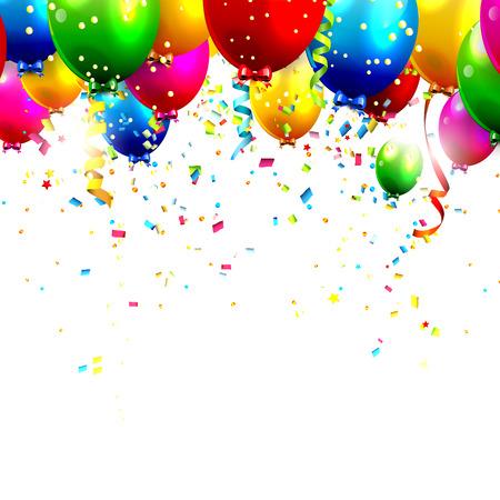 celebracion cumplea�os: Globos de cumplea�os de colores y confeti Vectores