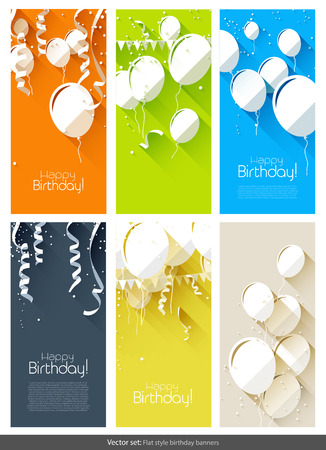 blue ribbon: set of colorful flat birthday banners
