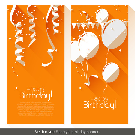 party streamers: Set of two birthday banners in flat design style