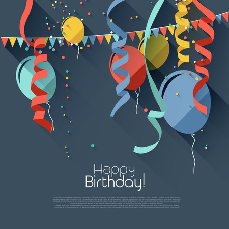 compleanno: Sfondo di compleanno in stile moderno design piatto