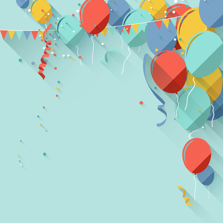 birthday background: Colorful birthday background in flat design style