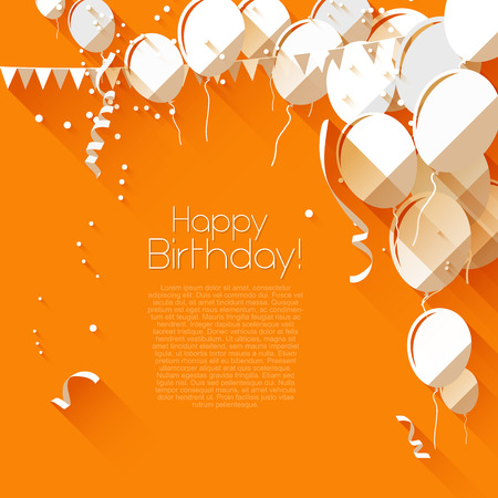 party balloons: Modern birthday background in flat design style