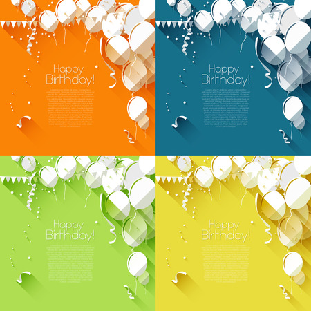 welcoming party: Set of four birthday backgrounds in flat design style   Illustration