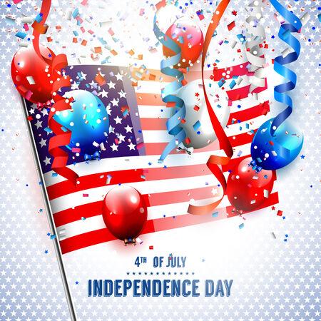 アメリカの国旗、風船と独立記念日