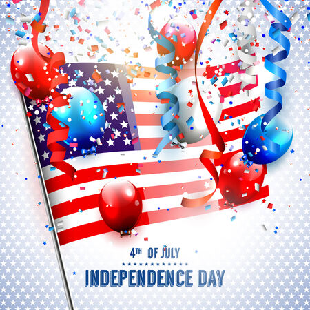 Independence day  with American flag and balloons