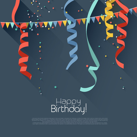 다채로운 색종이와 생일 배경 - 현대 평면 스타일