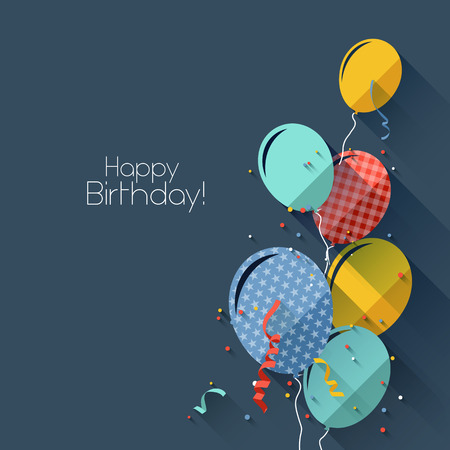 Colorful birthday background in flat design style