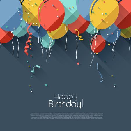Balloon: Nền sinh nhật đầy màu sắc trong phong cách thiết kế phẳng
