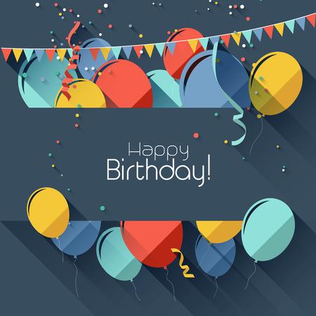 празднование: Современные фон день рождения в плоском стиле дизайна