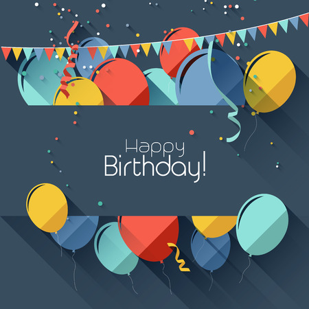 birthday celebration: Modern birthday background in flat design style