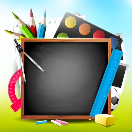 School supplies and blackboard with place for text - Back to school background Vector