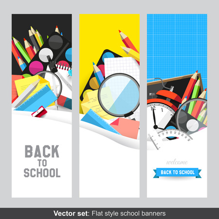 protractor: Back to school - Vector set of flat banners with school supplies     Illustration