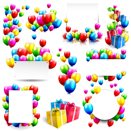 welcoming party: Big collection of birthday backgrounds and elements Illustration